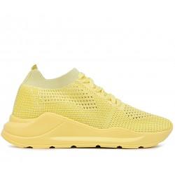 Желтые текстильные летние кроссовки