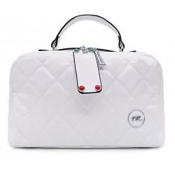 Біла шкіряна «еко» середня жіноча сумка