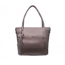Коричнева шкіряна велика жіноча сумка