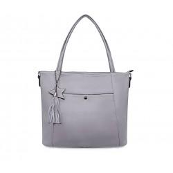 Сіра шкіряна велика жіноча сумка