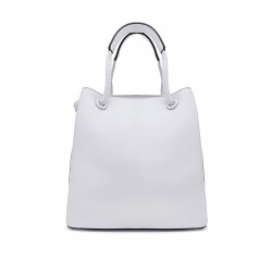 Біла шкіряна середня жіноча сумка