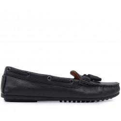 Черные кожаные мокасины