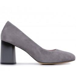 Серые замшевые демисезонные туфли