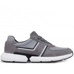 Серые замшевые демисезонные кроссовки