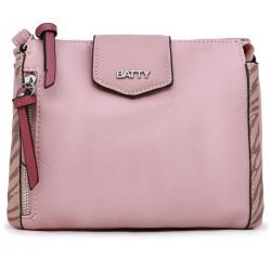 Розовая кожаная маленькая женская сумка