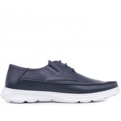 Синие кожаные демисезонные туфли