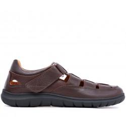 Коричневые кожаные летние туфли