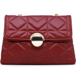 Бордовая кожаная маленькая женская сумка