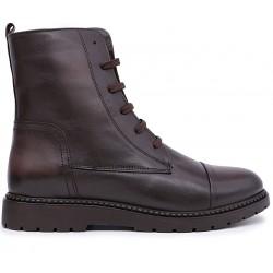Коричневые кожаные демисезонные ботинки