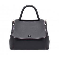 Черная кожаная средняя женская сумка