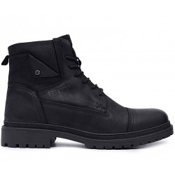 Черные нубуковые зимние ботинки