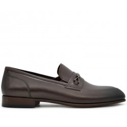Коричневые кожаные демисезонные туфли
