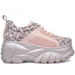 Розовые кожаные летние кроссовки