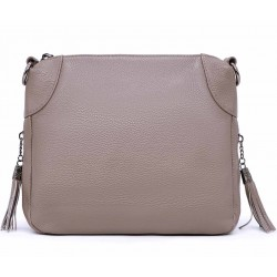 Серая кожаная маленькая женская сумка