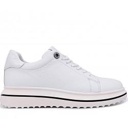 Белые кожаные демисезонные туфли