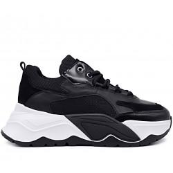 Черные кожаные демисезонные кроссовки
