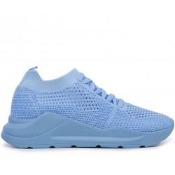 Голубые текстильные летние кроссовки
