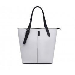 Белая кожаная средняя женская сумка