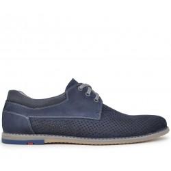 Синие нубуковые летние туфли