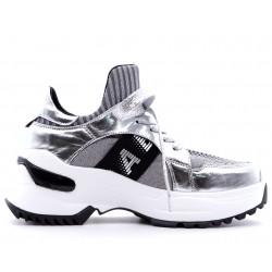 Срібні шкіряні літні туфлі