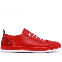 Красные кожаные демисезонные кеды