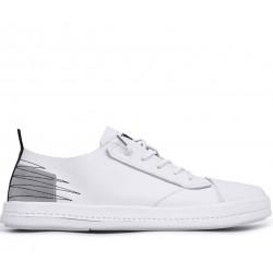 Белые кожаные демисезонные кеды