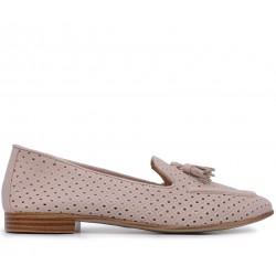Бежевые кожаные летние туфли