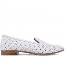 Белые кожаные летние туфли