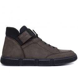 Серые нубуковые демисезонные ботинки