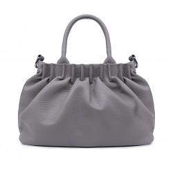 Сіра шкіряна середня жіноча сумка