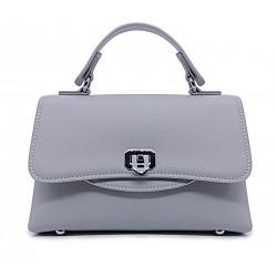 Сіра шкіряна «еко» маленька жіноча сумка