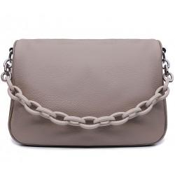 Коричнева шкіряна середня жіноча сумка