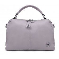 Сіра шкіряна «еко» велика жіноча сумка