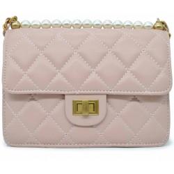 Розовая кожаная женская сумка