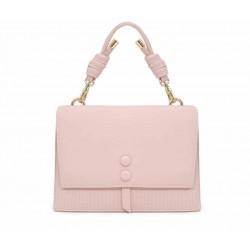 Розовая кожаная средняя женская сумка