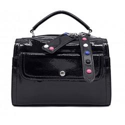 Черная лаковая маленькая женская сумка