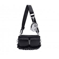 Черная кожаная маленькая женская сумка