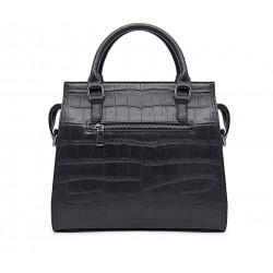 Черная кожаная большая женская сумка