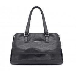 Серая кожаная средняя женская сумка