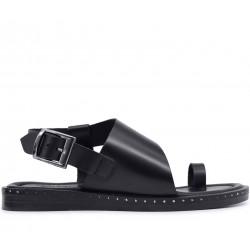Черные кожаные босоножки