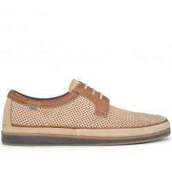 Бежевые нубуковые летние туфли