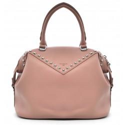 Розовая кожаная большая женская сумка