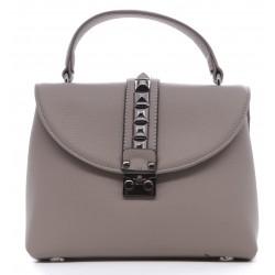 Серая кожаная женская сумка