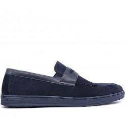 Сині шкіряні демісезонні туфлі