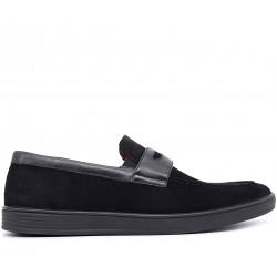 Чорні шкіряні демісезонні туфлі