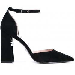 Черные замшевые летние туфли