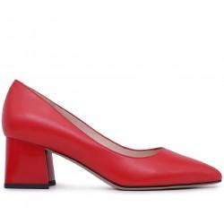 Красные кожаные демисезонные туфли
