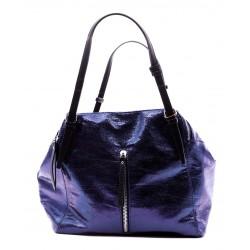 Синяя кожаная большая женская сумка