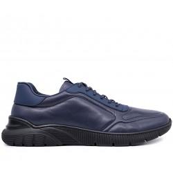 Синие кожаные демисезонные кроссовки