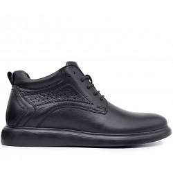 Черные кожаные демисезонные ботинки